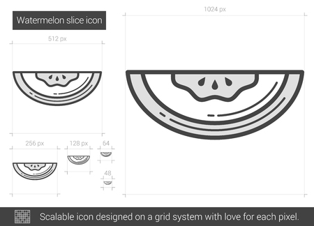 Watermelon vector line icon isolated on white background. Watermelon line icon for infographic, website or app. Scalable icon designed on a grid system.