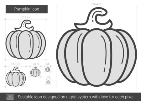 Pumpkin vector line icon isolated on white background. Pumpkin line icon for infographic, website or app. Scalable icon designed on a grid system. 版權商用圖片 - 67368243