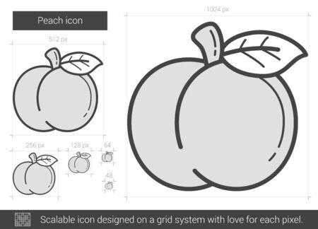 Peach icono de la línea vector aislado en el fondo blanco. icono de la línea del melocotón por infografía, sitio web o aplicación. icono escalable diseñada en un sistema de red. Foto de archivo - 67368263