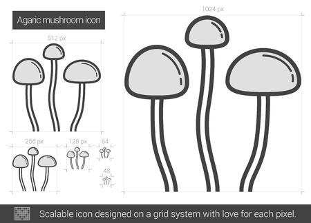 Agaric mushroom vector line icon isolated on white background. Agaric mushroom line icon for infographic, website or app. Scalable icon designed on a grid system. Illusztráció