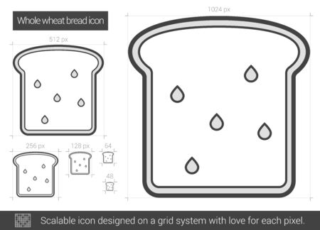 Whole wheat bread vector line icon isolated on white background. Whole wheat bread line icon for infographic, website or app. Scalable icon designed on a grid system. 版權商用圖片 - 67368289