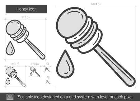 Honey vector line icon isolated on white background. Honey line icon for infographic, website or app. Scalable icon designed on a grid system.