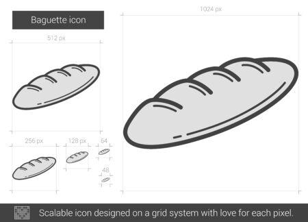 バゲット ベクトル線のアイコンが白い背景で隔離。インフォ グラフィック、ウェブサイトまたはアプリ スケーラブルなアイコンのバゲット ライン