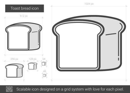 トースト パン ベクトル線のアイコンが白い背景に分離されました。インフォ グラフィック、ウェブサイトまたはアプリ スケーラブルなアイコンの