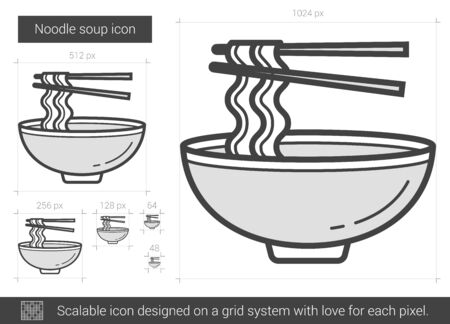 noodle soup: Noodle soup vector line icon isolated on white background. Noodle soup line icon for infographic, website or app. Scalable icon designed on a grid system. Illustration