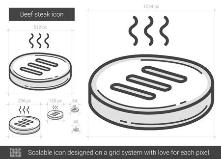 牛肉ステーキ ベクトル線のアイコンが白い背景に分離されました。牛肉ステーキ線アイコン インフォ グラフィック、ウェブサイトまたはアプリ ス