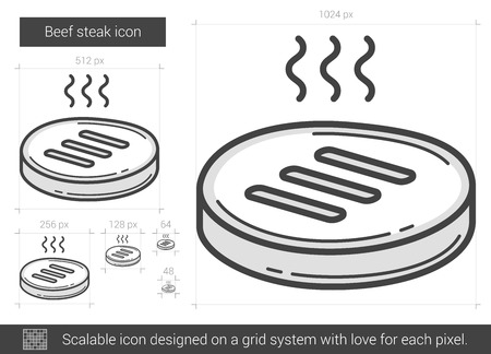 Beef steak vector line icon isolated on white background. Beef steak line icon for infographic, website or app. Scalable icon designed on a grid system.