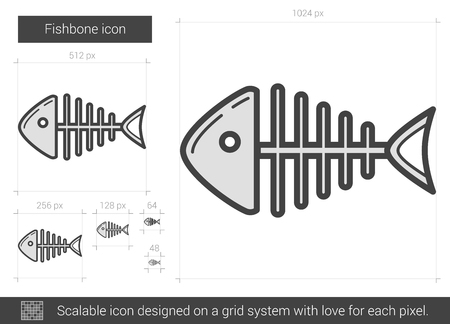 fishbone: Fishbone vector line icon isolated on white background. Fishbone line icon for infographic, website or app. Scalable icon designed on a grid system. Illustration