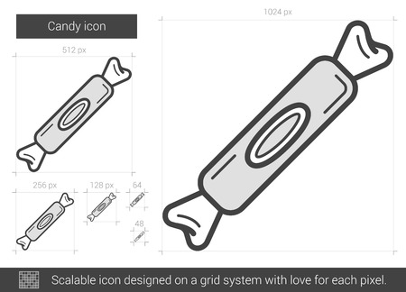 Candy vector line icon isolated on white background. Candy line icon for infographic, website or app. Scalable icon designed on a grid system.
