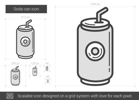 soda can: Soda can vector line icon isolated on white background. Soda can line icon for infographic, website or app. Scalable icon designed on a grid system.