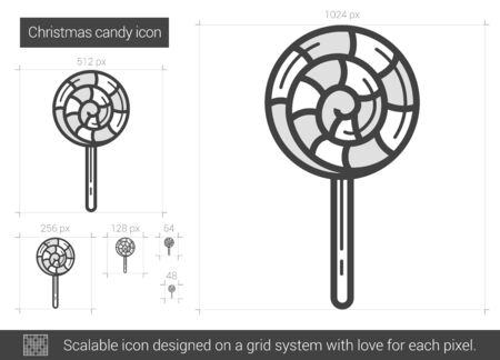 Christmas candy vector line icon isolated on white background. Christmas candy line icon for infographic, website or app. Scalable icon designed on a grid system.