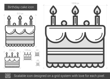Birthday cake vector line icon isolated on white background. Birthday cake line icon for infographic, website or app. Scalable icon designed on a grid system.