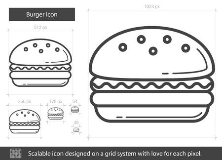 バーガー ベクトル線のアイコンが白い背景で隔離。バーガー ライン アイコン インフォ グラフィック、ウェブサイトまたはアプリ スケーラブルな  イラスト・ベクター素材