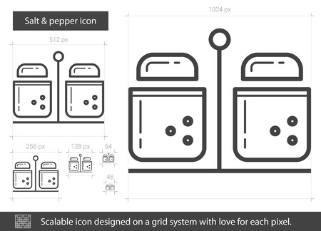 Salt and pepper vector line icon isolated on white background. Salt and pepper line icon for infographic, website or app. Scalable icon designed on a grid system. Çizim
