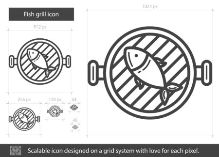 Fish grill vector line icon isolated on white background. Fish grill line icon for infographic, website or app. Scalable icon designed on a grid system. Stock Vector - 67610113