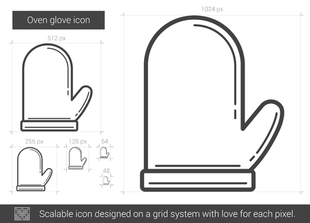 Oven glove vector line icon isolated on white background. Oven glove line icon for infographic, website or app. Scalable icon designed on a grid system. 向量圖像