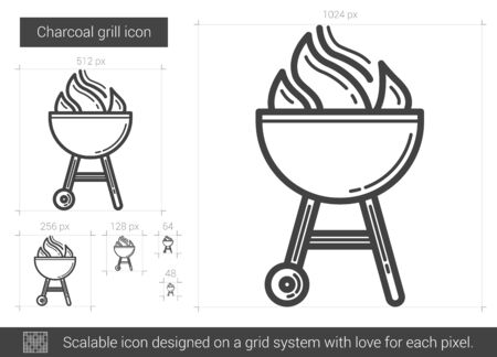 Charcoal grill vector line icon isolated on white background. Charcoal grill line icon for infographic, website or app. Scalable icon designed on a grid system. Illustration