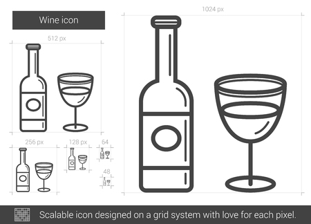 Wine vector line icon isolated on white background. Wine line icon for infographic, website or app. Scalable icon designed on a grid system. Illustration