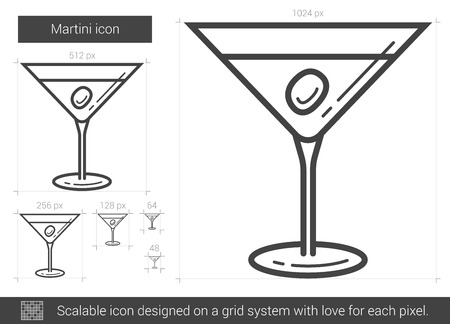 tonic: Martini vector line icon isolated on white background. Martini line icon for infographic, website or app. Scalable icon designed on a grid system.