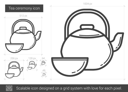 Tea ceremony vector line icon isolated on white background. Tea ceremony line icon for infographic, website or app. Scalable icon designed on a grid system.
