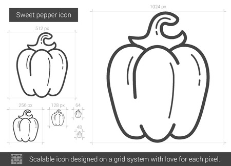 Sweet pepper vector line icon isolated on white background. Sweet pepper line icon for infographic, website or app. Scalable icon designed on a grid system. 向量圖像