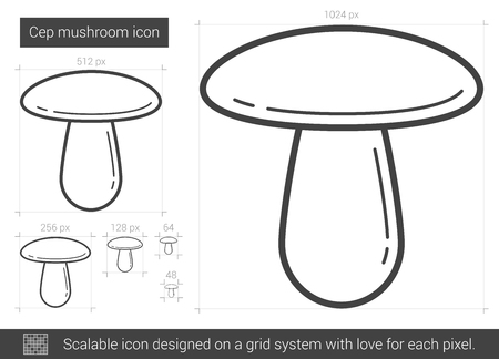 cep: Cep mushroom vector line icon isolated on white background. Cep mushroom line icon for infographic, website or app. Scalable icon designed on a grid system. Illustration