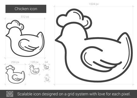 Chicken vector line icon isolated on white background. Chicken line icon for infographic, website or app. Scalable icon designed on a grid system. Vettoriali