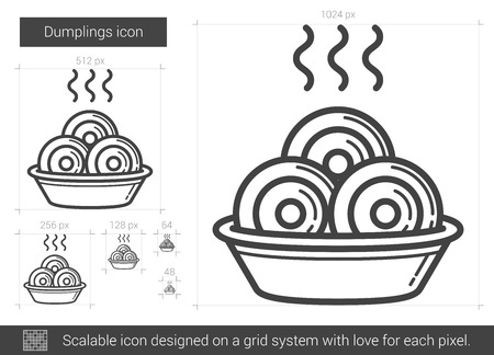 Dumplings vector line icon isolated on white background. Dumplings line icon for infographic, website or app. Scalable icon designed on a grid system. Stock Vector - 67772969