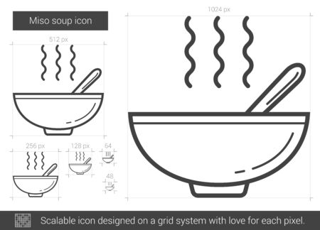 soup bowl: Miso soup vector line icon isolated on white background. Miso soup line icon for infographic, website or app. Scalable icon designed on a grid system. Illustration