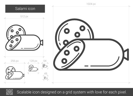 salami: Salami vector line icon isolated on white background. Salami line icon for infographic, website or app. Scalable icon designed on a grid system. Illustration