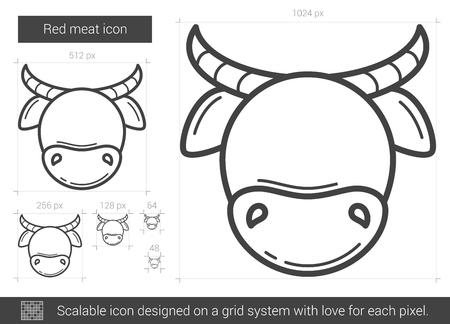 赤肉ベクトル線のアイコンが白い背景で隔離。インフォ グラフィック、ウェブサイトまたはアプリ スケーラブルなアイコンの赤肉線アイコンは、グ