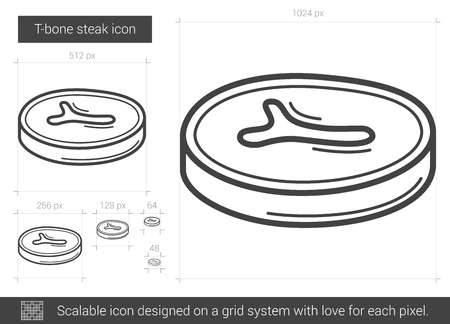 T-bone steak vector line icon isolated on white background. T-bone steak line icon for infographic, website or app. Scalable icon designed on a grid system.