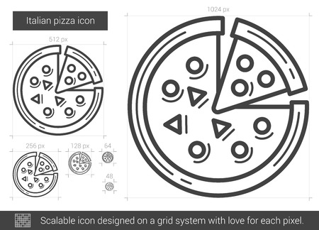Italian pizza vector line icon isolated on white background. Italian pizza line icon for infographic, website or app. Scalable icon designed on a grid system.