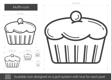 blueberry muffin: Muffin vector line icon isolated on white background. Muffin line icon for infographic, website or app. Scalable icon designed on a grid system.