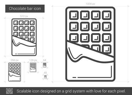 Chocolate bar vector line icon isolated on white background. Chocolate bar line icon for infographic, website or app. Scalable icon designed on a grid system. Illustration