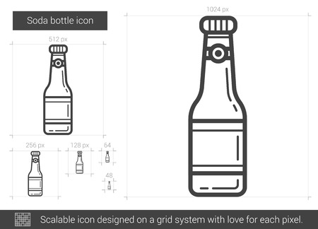 Soda bottle vector line icon isolated on white background. Soda bottle line icon for infographic, website or app. Scalable icon designed on a grid system. 向量圖像