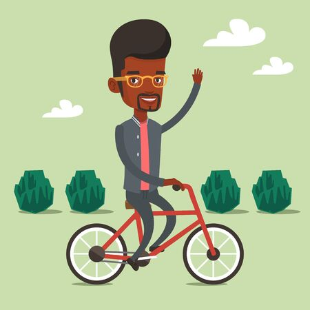 lifestyle outdoors: An african-american man riding a bicycle in the park. Cyclist riding a bicycle and waving his hand. Man on a bicycle outdoors. Healthy lifestyle concept. Vector flat design illustration. Square layout