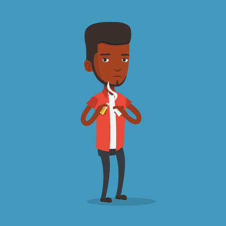 An african-american man breaking the cigarette. Young man crushing cigarette. Man holding broken cigarette. Quit smoking concept. Vector flat design illustration. Square layout. Ilustrace