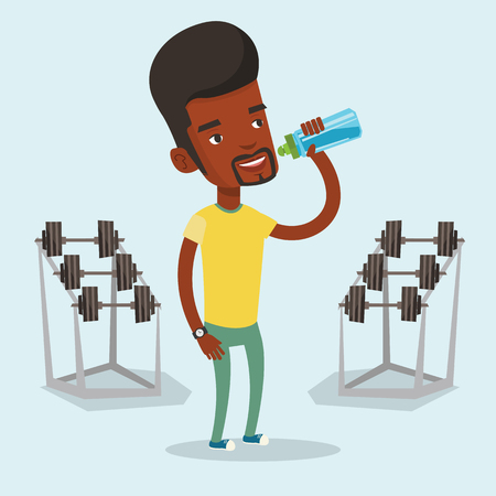 An african-american sportsman drinking water. Sportsman with bottle of water in the gym. Sportsman drinking water from the bottle. Vector flat design illustration. Square layout. Ilustracja