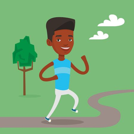 lifestyle outdoors: An african-american young man running. Happy male sporty runner running outdoors. Smiling sportswoman running in the park. Healthy lifestyle concept. Vector flat design illustration. Square layout. Illustration