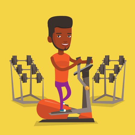 elliptical: An african-american man exercising on elliptical trainer. Man working out using elliptical trainer at the gym. Man doing exercises on elliptical trainer. Vector flat design illustration. Square layout