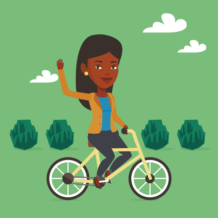 lifestyle outdoors: An african-american woman riding a bicycle in the park. Cyclist riding bicycle and waving hand. Woman on a bicycle outdoors. Healthy lifestyle concept. Vector flat design illustration. Square layout.