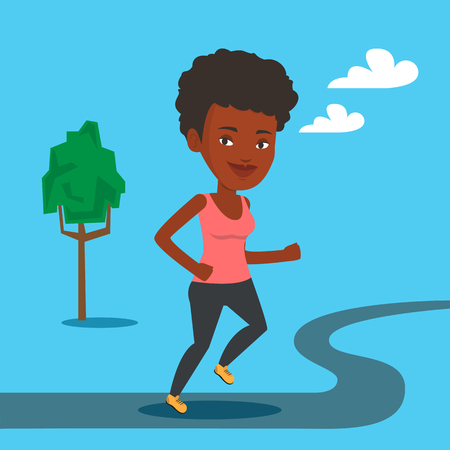An african-american young woman running. Happy female sporty runner running outdoors. Smiling sportswoman running in the park. Vector flat design illustration. Square layout. Ilustração