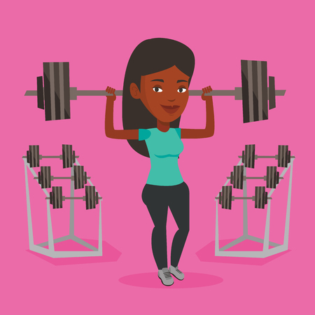 sportswoman: An african-american sporty woman lifting a heavy weight barbell. Sportswoman doing exercise with barbell. Weightlifter holding a barbell in the gym. Vector flat design illustration. Square layout.