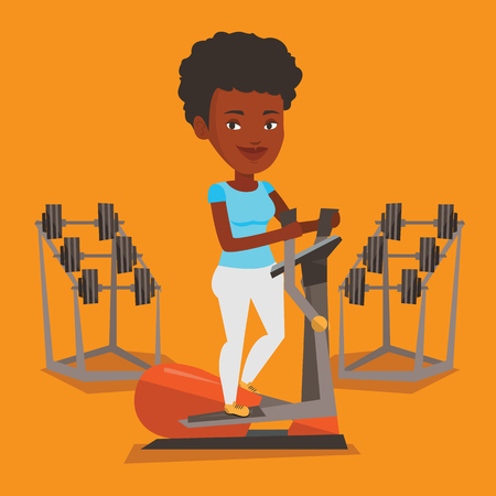 An african woman exercising on elliptical trainer. Woman working out using elliptical trainer in the gym. Woman doing exercises on elliptical trainer. Vector flat design illustration. Square layout. Illustration