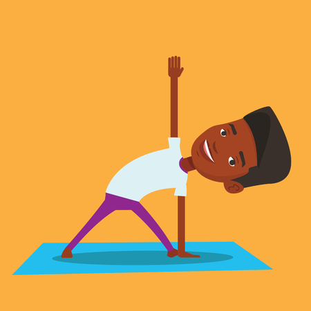 man meditating: An african-american young sportsman standing in yoga triangle pose. Sportsman meditating in yoga triangle position. Sporty man doing yoga on the mat. Vector flat design illustration. Square layout.