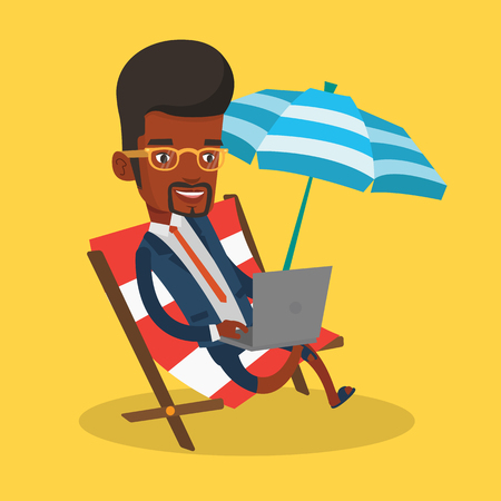 vacation with laptop: An african-american business man working on the beach. Businessman sitting in chaise lounge under beach umbrella. Businessman using laptop on the beach. Vector flat design illustration. Square layout.