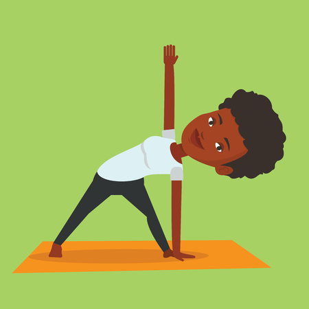 An african-american sportswoman standing in yoga triangle pose. Sportswoman meditating in yoga triangle position. Sporty woman doing yoga on the mat. Vector flat design illustration. Square layout. Illustration