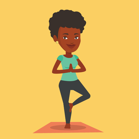 An african-american young sportswoman standing in yoga tree pose. Sportswoman meditating in yoga tree position. Sporty woman doing yoga on the mat. Vector flat design illustration. Square layout. Illustration