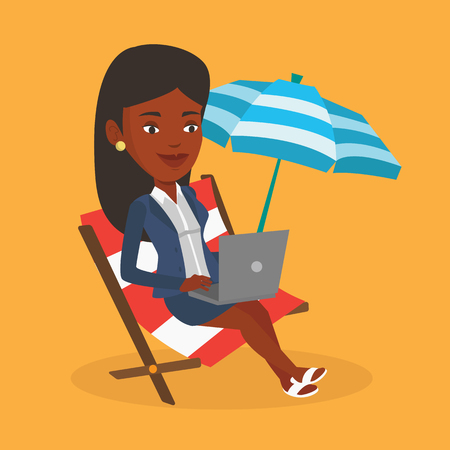 woman laptop: An african business woman working on the beach. Business woman sitting in chaise lounge under beach umbrella. Business woman using laptop on the beach. Vector flat design illustration. Square layout. Illustration